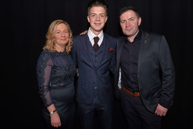 Jack Grealish with his parents Karen and Kevin