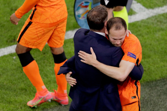 Daley Blind in tears during Holland victory over former teammate Christian Eriksen