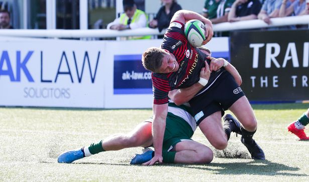 Farrell is tackled short of the line
