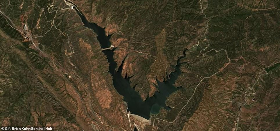 Pictured is a satellite image of Castaic Lake in 2020