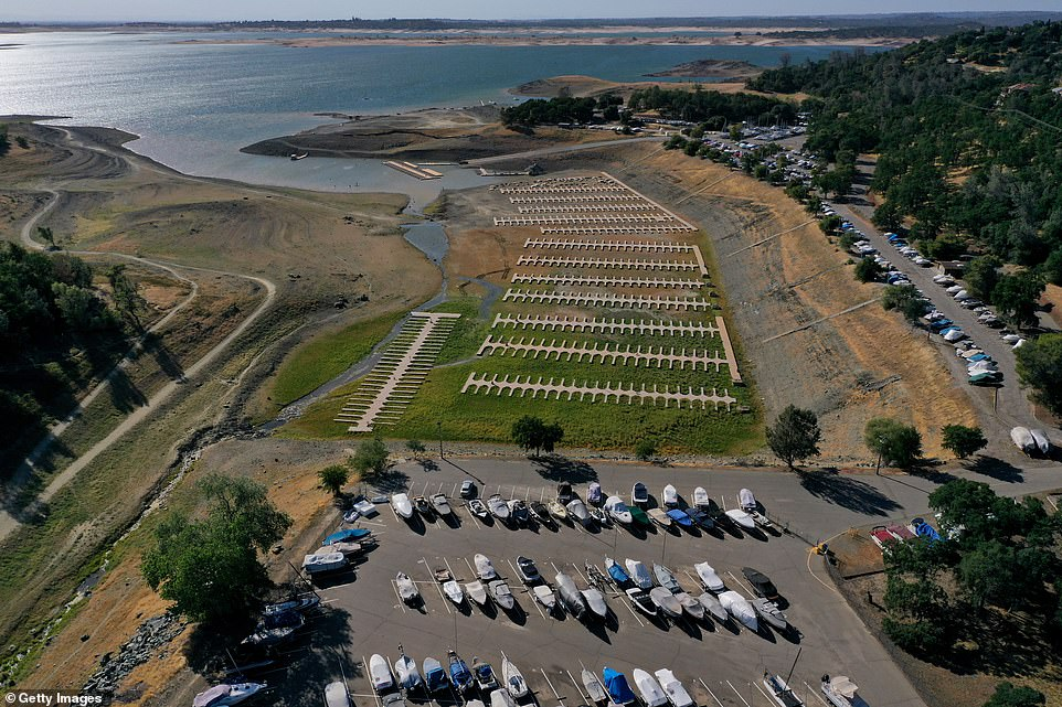 Image shows an aerial view of Granite Bay at Folsom Lake snapped in May amid the mega-drought