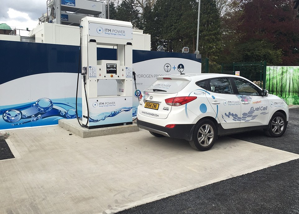 UK firm ITM Power is already creating a national network of hydrogen filling stations with those established already including Teddington, South West London (pictured), Cobham off the M25 in Surrey, Beaconsfield off the M40, Sheffield, Swindon, Slough, Gatwick, Birmingham, and Aberdeen