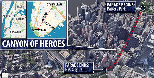 Mayor Bill de Blasio also announced on Monday that New York City will host a ticker tape parade next month to honor 'Hometown Heroes' on New York City's Canyon of Heroes
