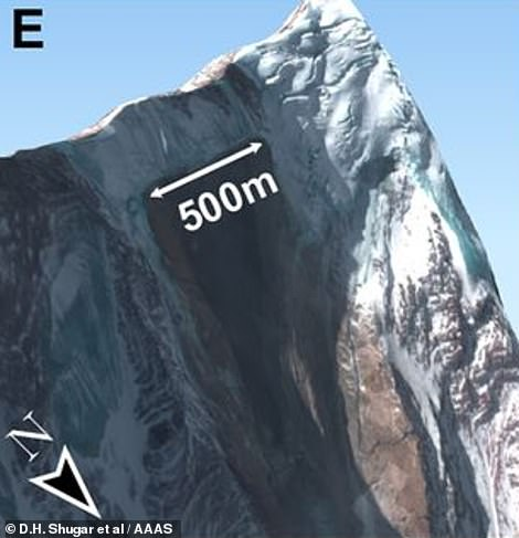 Satellite images after the disaster found it began on the Ronti Peak (pictured)