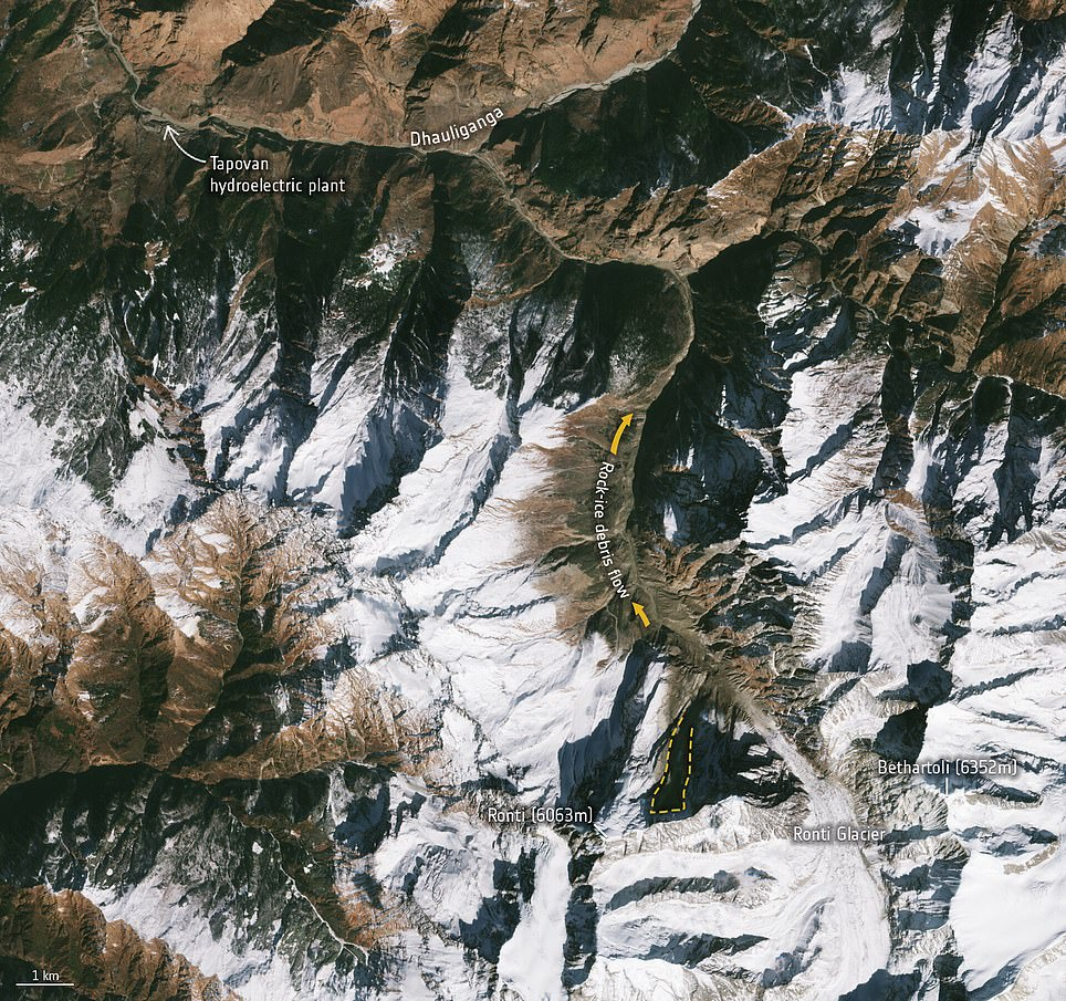 And this image from February 10 was taken after the disaster. The dotted orange line shows the site of the collapse from the north slope of the Ronti Peak