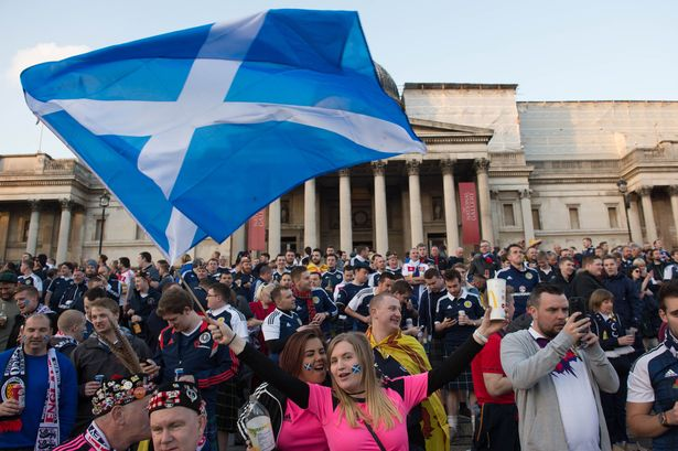 Scotland fans in Trafalgar Square qw thousands of football fans descend on the capital for the England v Scotland World Cup qualifier in 2016