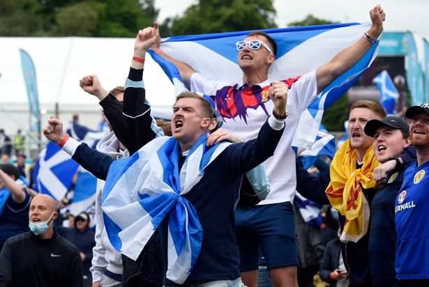 Scotland fans at the Fan Zone in Glasgow as they watch the UEFA Euro 2020 Group D match between Scotland and the Czech Republic held at Hampden Park on Monday
