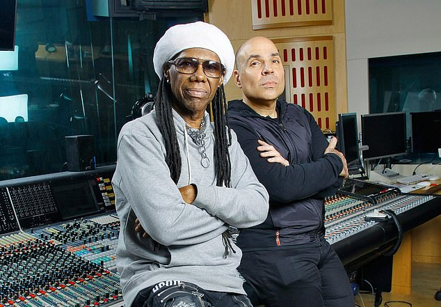 Power players: Hipgnosis founders Nile Rodgers (left) and Merck Mercuriadis (right) have bought the back catalogues of major artists, including Chrissie Hynde and Mark Ronson
