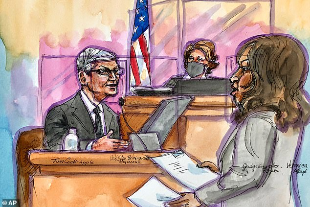 A court sketch from May 21 shows Apple CEO Tim Cook testifying that the company's refusal to allow in-app sales from third-party platforms protects users from security threats and privacy intrusions