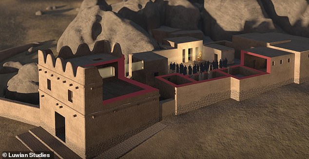 A rendering of what researchers believe the temple built outside the chambers would have looked like in the 13th century BC