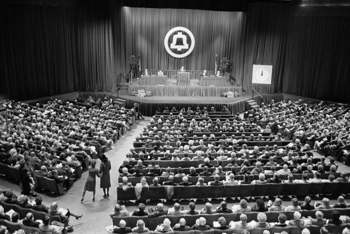American Telephone & Telegraph Co's 98th and last annual meeting. It was founded in 1885 to build a network in New York