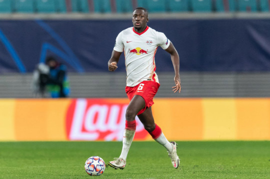 Ibrahima Konate runs with the ball during Leipzig's clash with Manchester United