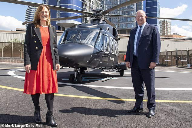 High flyers: The Mail's Ruth Sunderland with Leonardo's Nick Whitney. The company is the second largest supplier of defence equipment to the MoD after BAE Systems
