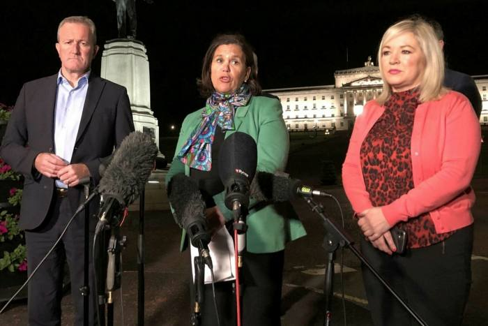 Sinn Féin's Conor Murphy, Mary Lou McDonald and Michelle O'Neill at a Stormont press conference
