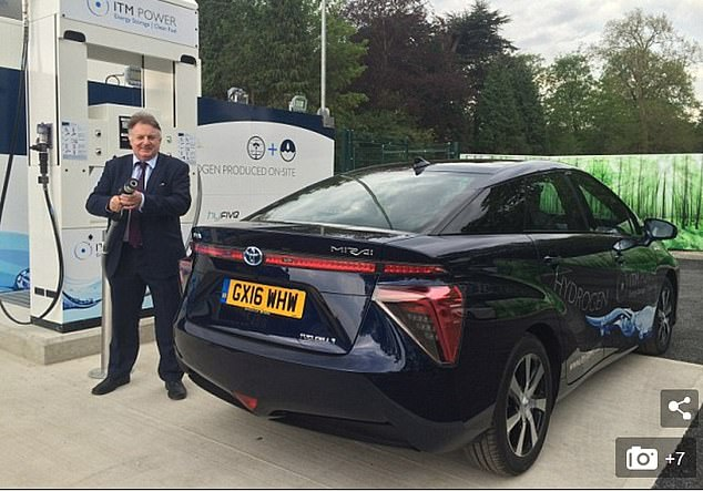 Filling up: Ray Massey with a first generation Toyota Mirai. More car makes are now developing their own hydrogen fuel cell vehicles