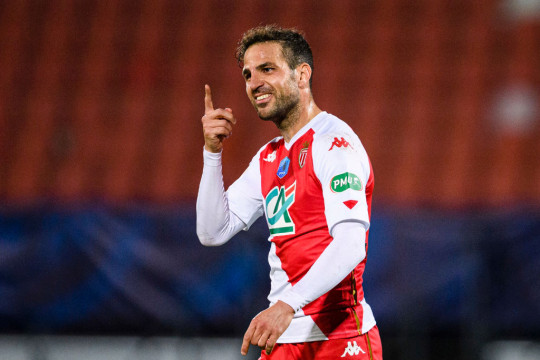 Francesc Fabregas of AS Monaco celebrating his goal during the French Cup match between Rumilly and Monaco at Parc Des Sports on May 13, 2021 in Annecy, France.