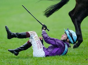 Oisin Murphy takes a tumble after winning the Coronation Stakes on Alcohol Free.