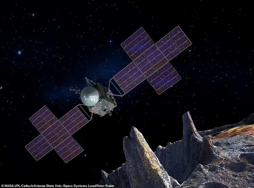 An artists' depiction of what the 16 Psyche spacecraft will look like. It is slated to launch in August 2022