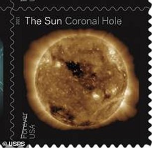Both stamps highlighting coronal holes were also captured in 211 Angsrom light a wavelength of extreme ultraviolet light