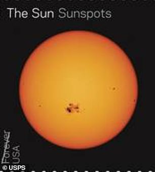 The last stamps in the collection are of sunspots, which can be seen as a cluster near the center of the sun