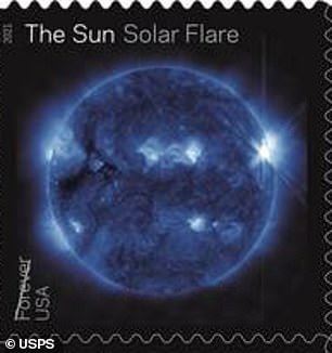 The stamps of solar flares are revealed in a stunning electric blue and green, capturing the burst as a bright flash