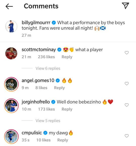 Jorginho and Christian Pulisic hailed their Chelsea teammate  Billy Gilmour after Scotland's draw with England