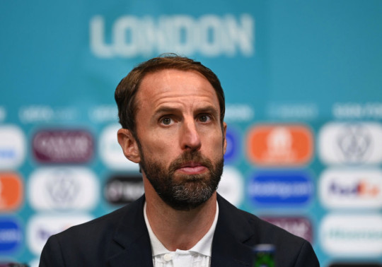 Gareth Southgate, Head Coach of England speaks to the media during the England Press Conference after UEFA Euro 2020 Championship Group D match between England and Scotland at Wembley Stadium on June 18, 2021 in London, England.