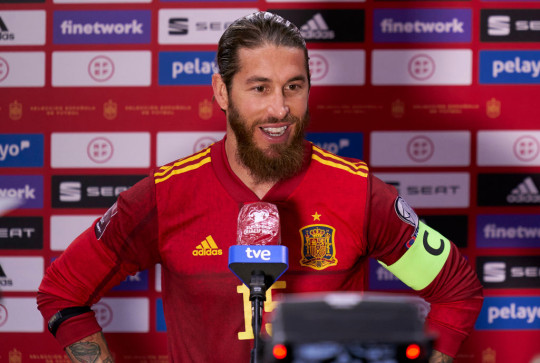 Sergio Ramos of Spain holds post-match interview after the FIFA World Cup 2022 Qatar qualifying match between Spain and Kosovo at Estadio de La Cartuja on March 31, 2021 in Seville, Spain.