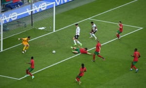 Kai Havertz waits for the ball before slotting it home for Germany's third goal.