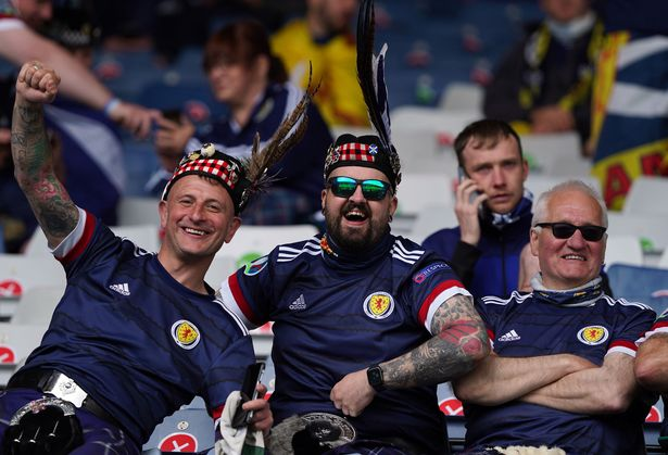 Scotland fans ahead of the UEFA Euro 2020 Group D match at Hampden Park, Glasgow, on Monday