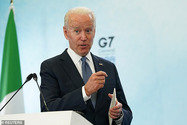 Joe Biden (pictured) reportedly needs the vote of senator Joe Machin of coal dependent West Virginia if he is to win Congressional backing for his $1trillion infrastructure plan