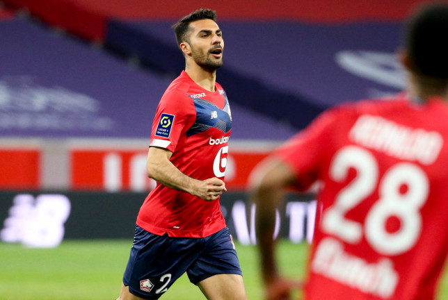 Arsenal transfer target Zeki Celik looks on during Lille's Ligue clash with with Nice