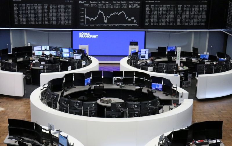 European shares linger near record levels, airlines rise