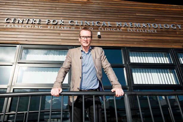 Geoff Thomas outside the Centre for Clinical Haematology