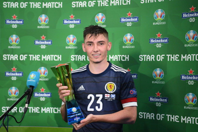 Billy Gilmour was named man of the match in Scotland's draw with England at Euro 2020