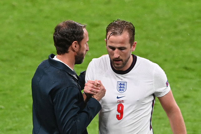 England's forward Harry Kane walks off the pitch after being substituted by England's forward Marcus Rashford  during the UEFA EURO 2020 Group D football match between England and Scotland at Wembley Stadium in London on June 18, 2021.