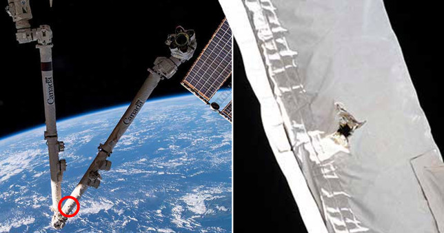 The 6mm-wide hole punched through the robotic Canadarm2 on the ISS by a piece of space junk (CSA)