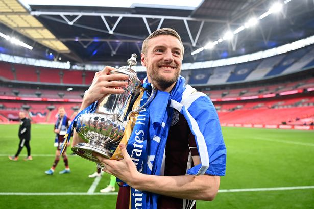 Jamie Vardy celebrates winning this season's FA Cup with Leicester City