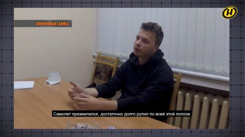 Opposition decries 'hostage' video as Belarus airs confession of detained journalist