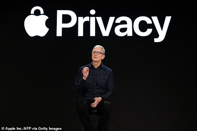Pictured (Apple CEO Tim Cook) A new report says Apple's App Store in China removed 27 apps related to LGBT, claiming the tech giant is 'actively helping governments around the world' isolate, silence and oppress LGBTQ+ people - something Apple vehemently denies