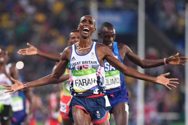 No more of this: Farah pictured winning 5000m gold in Rio. Will this now be his last Olympic memory?