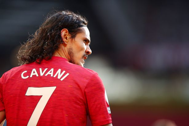 Edinson Cavani of Manchester United during the Premier League match between Manchester United and Fulham at Old Trafford on May 18, 2021 in Manchester, United Kingdom.