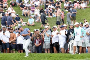 Brooks Koepka of the United States plays a shot to the fifth green.