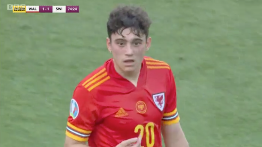 Daniel James is replaced during Wales' clash with Switzerland