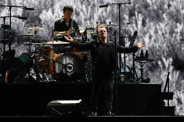 Bono performing on stage