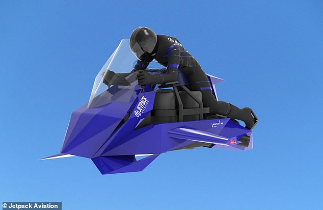 Like Jetpack Aviation's JB-10 and JB-11 jetpacks, the 'flying motorcycle' is powered by mini-turbojet engines. But it will move faster, support up to two passengers and carry heavier loads