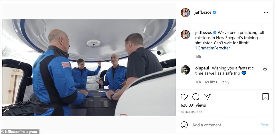 Bezos's Instagram account showed him and his four fellow crew members making last minute preparations