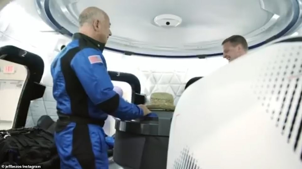 The team appeared to be all smiles on Monday as they explored the capsule