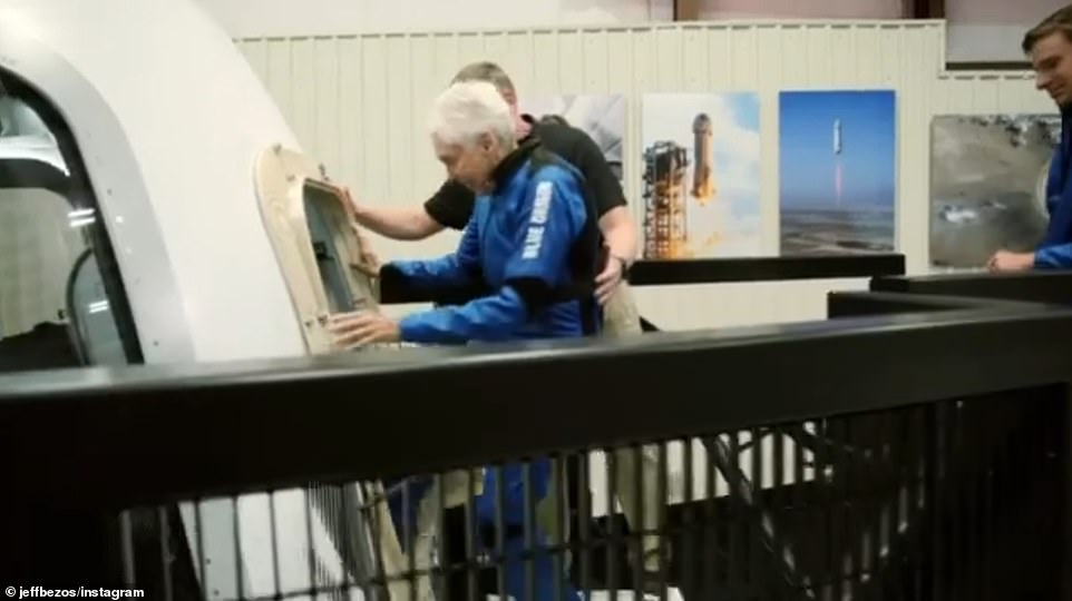 Funk, 82, is seen stepping into the capsule in a clip tweeted by Jeff Bezos on Monday