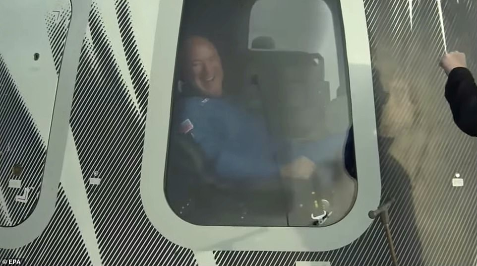Blue Origin's experience, which took just over 10 minutes, saw the New Shepard capsule fall at exceptional speeds, before the set of parachutes opened, with thrusters firing to cushion the touchdown blow for the four passengers inside. They stepped through the capsule's hatch in the Texas desert at 9:34am, with Bezos saying, 'Best day ever!'